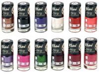 Elco Crazy Nail Enamel(pack Of 12) 72 Ml (Golden Copper, Pitch Black, Sapphire Blue, Milky White, Scarlett Red, Dahlia Purple, Dark Magenta, Pine Green, Wine Purple, Carmine Red, Rouge Pink)