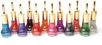 Foolzy Pack Of 12 Glittering Nail Polish 150 Ml (Multicolor)