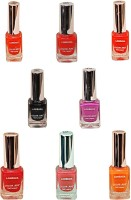 Lorenza Combo Set-12 Nail Lacquer (Pack Of 8) 15 Ml (Sunflower-262, Kiss Me-309, Girlie-315, For A Change-421, Las Veaas-472, Cherry-566, Excuse Me-672, Black Diamond-900)
