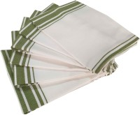 Milano Home White, Green Set Of 6 Napkins
