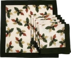 Ocean Collection Pomigrante White Set Of 6 Cloth Napkins - White, Green