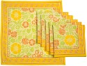 Ocean Collection Linen Flower Print Set Of 6 Cloth Napkins - Multicolour