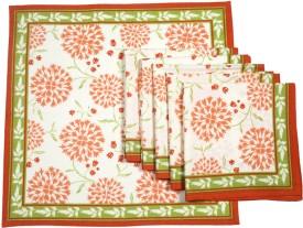 Ocean Collection Kadamba Print Set Of 6 Cloth Napkins - Orange