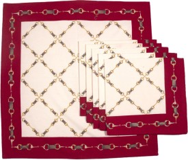 Ocean Collection Horse Chain Set Of 6 Cloth Napkins - Red, White