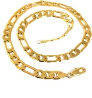 Ammvi Creations 17.5'' Figaro Links Gold Plated Necklace For Men Brass Chain