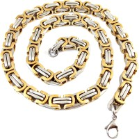 Ammvi Creations Big Guy's 8.9 Mm Thick & Broad Two-Tone 3D Byzantine For Men Stainless Steel Chain