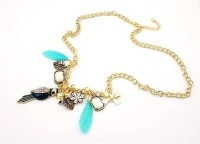 Cinderella Collection By Shining Diva Golden & Blue Crystal Alloy Necklace