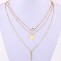 Cinderella Collection By Shining Diva Golden American Diamond Triple Strand Alloy Necklace