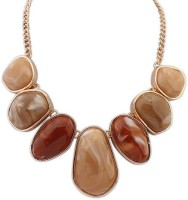 Crunchy Fashion Earthy Hues Statement Alloy Necklace