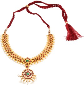 Vama Yellow Gold Plated Alloy, Brass Necklace