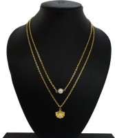 GalexiaR Double Layered Glass Pearl Bead Shell Shape Best Gift Yellow Gold Plated Alloy Necklace