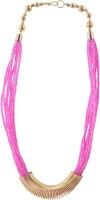 Adrika Multistrand Necklace In Pink With Gold Loop - 208 Alloy Necklace