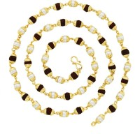 Khushal Link Gold Plated Rudraksha Pearl Mala Alloy Chain