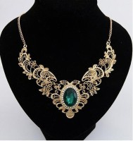 Cinderella Collection By Shining Diva Golden & Green Emerald Alloy Necklace