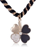 Cinderella Collection By Shining Diva Black And Silver Flower Pendant Alloy Necklace