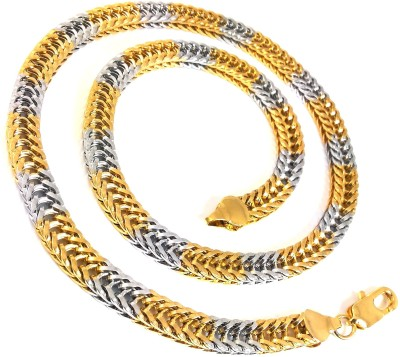 Ammvi Creations Gold Foamed Two-Tone Necklace For Men Brass Chain