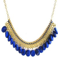 FashBlush Forever New Blue Bead & Chain Alloy Necklace