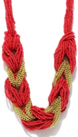 Blissdrizzle Red & Gold-Toned Alloy Necklace