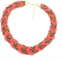 Aaishwarya Pink And Golden Beads Braided Alloy Necklace