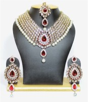 Jacknjewel Ruby Bridal Jewellery Set Ruby Rhodium Plated Alloy Necklace Set