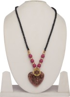The Bling Studio Black Bead With Copper Heart Alloy, Glass Necklace