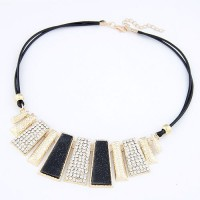 Cinderella Collection By Shining Diva Golden & Black CZ Alloy Necklace