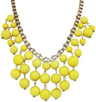 Crunchy Fashion Yellow Bauble Statement Alloy Necklace