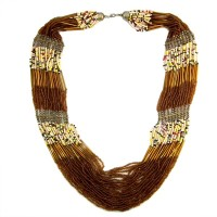 The Fine World Radiant Multi Colour Chunky Neck Piece With Touch Of Brown Colors Metal Necklace