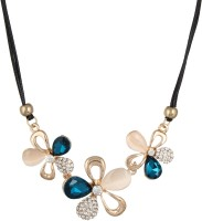 Fayon Blue Crystal Flowers Alloy Necklace