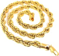 Ammvi 23.5'' Gold Plated Rope Pattern Thick Necklace For Men Brass Chain
