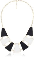 Cinderella Collection By Shining Diva Black & White Trapezium Shaped Designer Alloy Necklace