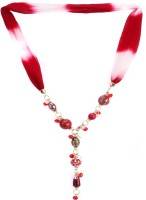 Trinketbag Red And White Glass Fabric Necklace