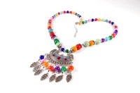 Dhrohar Multi Color Beads Alloy Leaves Silver Plated Alloy Necklace