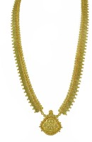 Womens Trendz Long Laxmi Pendant Haar Crystal Yellow Gold Plated Alloy Necklace