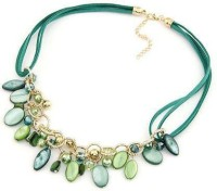 Cinderella Collection By Shining Diva Green & Golden Coloured Bead Alloy Necklace