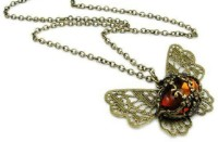 """SENECIOâ""""¢ Vintage Look Amber Stone Butterfly Feeligree Carved Floral Beautiful Long Chain Crystal Bronze Necklace"""