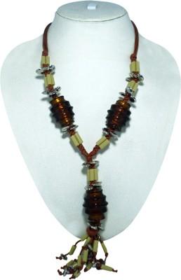 Mischika Big Glass Resin, Metal, Glass, Fabric Necklace