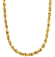 Memoir 4mm Thick Rope Design 24 Inch Long Yellow Gold Plated Brass Chain