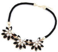 GalexiaR Western Style Black Layered Wave Rope Rhinestone Floral Statement Yellow Gold Plated Alloy Necklace