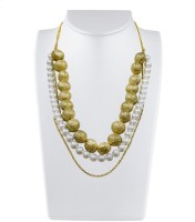 Karmic Kabira By Vandana Dewan White And Metallic Gold Bead Pearl Brass Necklace