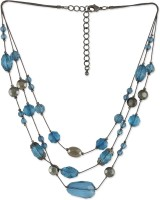 Fabula Blue & Black Crystal Beads Metal Necklace