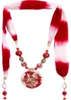 Trinketbag Red And White Scarf Fabric Necklace