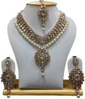 Jacknjewel Traditional Jewellery Necklace Set Pearl Rhodium Plated Alloy Necklace Set