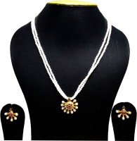 Krypton TWO LINE PEARL LONG MOTI NECKLACE WITH EARING SET Yellow Gold Plated Plastic Necklace