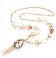 Cinderella Collection By Shining Diva Golden Coloured Bead Alloy Necklace