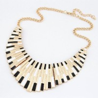 Cinderella Collection By Shining Diva Golden & Black Alloy Necklace