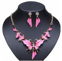 "SENECIOâ""¢ Fluorescent Light Pink Oil Drop Enamel Butterfly Floral Crystal With Earrings Jewelry 14K Yellow Gold Plated Alloy Necklace Set"