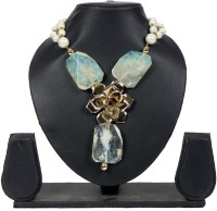 Envy Pearl Strands With Flower & Transprent Stones Yellow Gold Plated Mother Of Pearl Necklace