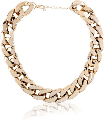 Cinderella Collection By Shining Diva Light Weight Gold Plated Choker Statement Alloy Necklace