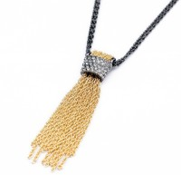 Oomph Gold & Black Tassel Pendant Long Metal Necklace
